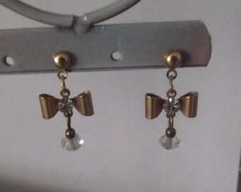 Crystal Gold Drop Bow Dangle earrings