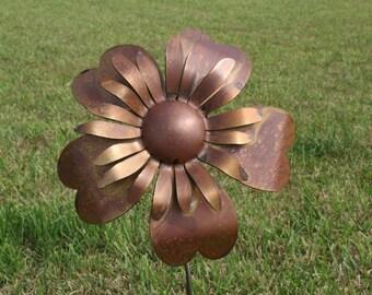 Large Metal Sunflower, Metal Flower Stake, garden flowers, Flower Garden Stake, Giant Metal Flower, Rusty Flower Stake, Rusty Sunflower