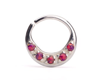Septum Ring Nose Ring Septum Jewelry Body Red Fire Opal Piercing  Sterling Silver Indian Style 14g 16g - SE027R SS OP76
