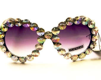 The Elton, Customized Bedazzled Sunglasses, Rhinestoned Fashion Sunglasses