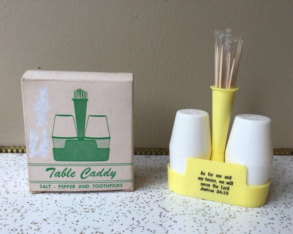 Table caddy salt and pepper shaker toothpick holder vintage - Toothpick shaker ...