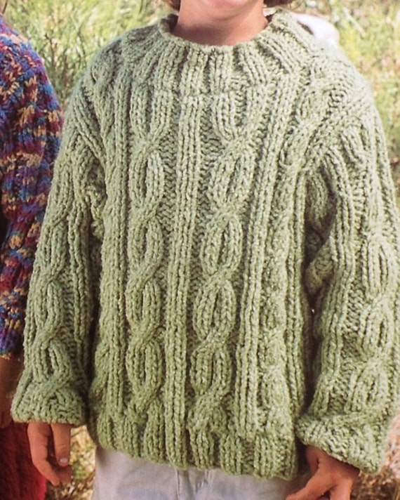 Knitting Pattern For Age : Boys/Girls/Childrens Jumper/Sweater Jacket/Cardigan Chunky Cabled Knitti...
