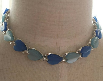 Blue Thermoset Choker-60s Necklace-Silver Choker