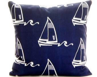 Navy White Nautical Throw Pillow Covers Cushions Vintage Indigo White Seaton Nautical Sail Boats Pillows Decorative Throw Pillow All Sizes