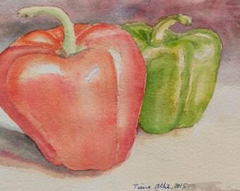 Peppers Original Watercolor Painting: Original Kitchen Art