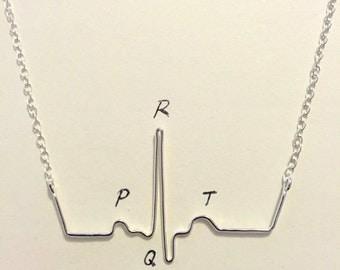 ECG necklace heartbeat pendant - PQRST medical science jewellery