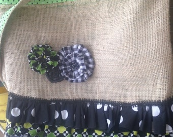 Recycled Burlap Green, Black, and White Print Upcycled Repurposed Crossbody Handbag