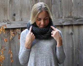 Crochet Chunky Ribbed Infinity Scarf/ Charcoal Grey
