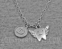 Silver Tooth with Wings Necklace -Dentist Necklace -Initial Charm Necklace -Your Choice of A to Z