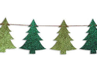 Christmas tree garland, Christmas tree Banner, Holiday Banner, Christmas decoration, Christmas Glitter Garland
