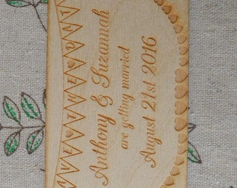 Bunting Engraved Wooden Personalised SAVE THE DATE Fridge Magnets Any names