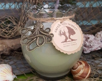 Secret Forest - 24 oz Soy Candle - Fish Bowl Candle - Beach Decor - Hand Poured Soy Candle