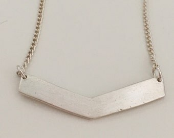 Small chevron necklace made of fine silver and sterling silver chain