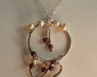 Sterling Silver Infinity Necklace with Garnets and Freshwater Pearls
