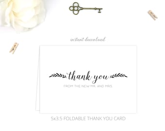Printable Wedding Thank You Cards (Folded) | Thank You from new Mr. and Mrs.  | Instant Download | 5x3.5 | DIY Printable/Digital File | r005