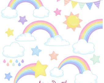 Pastel Rainbows Clipart Scrapbook printables, Vector Rainbow and cloud clip art set .eps. Cute rainbow party Spring graphics