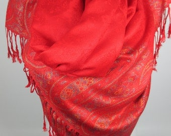 Pashmina scarf Winter scarf Red scarf Christmas gifts for her Double sided scarf Women Fashion Accessories Gift For Her Holiday Fashion