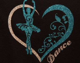 Dance Shirt in Glitter Vinyl with Dancer in Heart