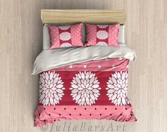 Pink Duvet Cover, Red, White, Polka Dot Comforter, Bedding Set, Pillow Case, Girls Bedroom Decor, Floral Bedding, Twin Comforter, King Duvet