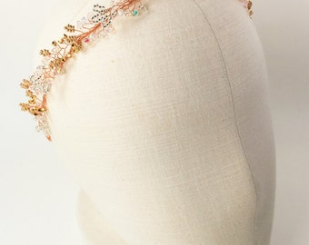 Bridal rose gold baby breath headpiece, Rose gold crystal hair vine, Rose gold crystal headband, Rose gold bridal hair accessory.Style:#3022