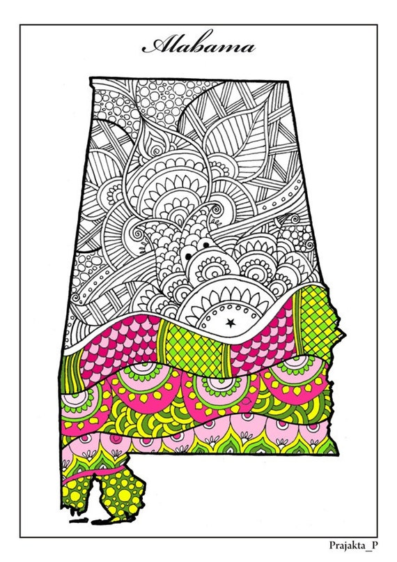 Adult coloring page Alabama state
