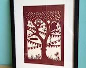 Stammbaum Papier geschnitten, personalisiert, Stammbaum, Stammbaum, personalisierte, individuelle Stammbaum, Familiennamen, Scherenschnitt, floral, A3