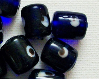 10 Handmade Glass Beads, Blue Evil Eye Beads, Bulk Beads, Wholesale Jewellery Making Craft Supplies, Chunky Macrame Hemp Craft Beads