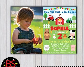 FARM BIRTHDAY Invitation, Farm Birthday Party invitation, Farm Party invite, Barnyard birthday party, Farm Animals party