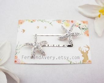 Silver crystal starfish hair pins. 2 starfish bobby pins. Beach wedding hair pins