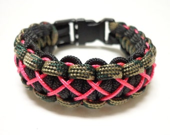 Paracord Bracelet - Black, Camo, and Pink Stitched - Survival Bracelet