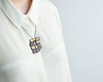 BROWN STATEMENT NECKLACE, Long geometric necklace, Stained glass jewelry, Modern necklace, Abstract jewellery, Gift 4 gran, Autumn jewellery