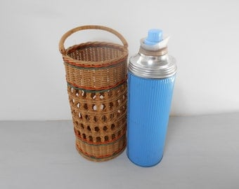 Retro Vintage Thermos in Original Cane Carry Basket 50's 60's  #10004
