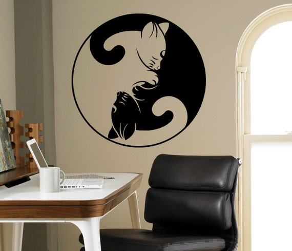 Yin and yang cats wall art decal yin yang symbol vinyl sticker for Decoration murale yin yang