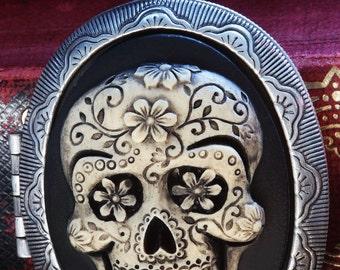 Cameo Locket Necklace. Sugar Skull