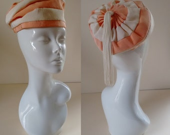 Rare Stripe Peach with Cream 1960's Mod Hat Beret Tam with tassel