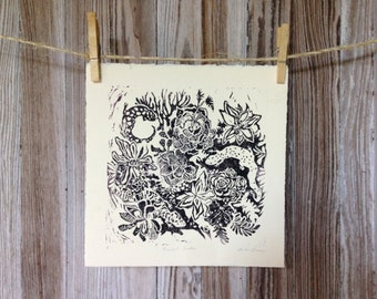 Salamanders & Succulents Large Linoleum Block Print