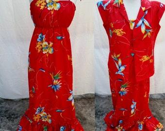 Darling Hilo Hattie's Vintage Hawaiian Maxi Dress circa 1970's