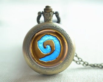WoW world of warcraft hearthstone pocket watch necklace, locket necklace picture jewelry photo necklace (HB036)