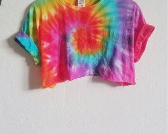 Hand dyed Summer Tie-dye crop top, grunge, indie, hipster
