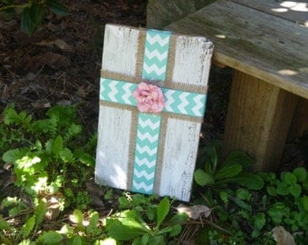 Reclaimed Wood - Ribbon Cross Sign - Wood Sign, Burlap & Blue Chevron Ribbon, Pink Rose, Rustic Wall Art, Cross, Easter, Spring, Handmade