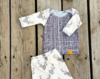 Grunge Deer Coming Home Outfit, 3 Piece Outfit, Baby Boy, Take Home Outfit, Layette