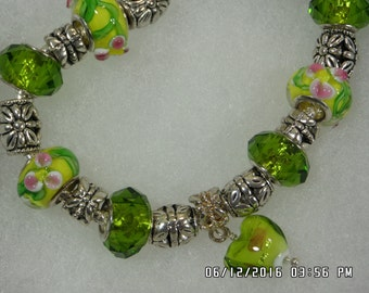 Green and Yellow Charm Bracelet