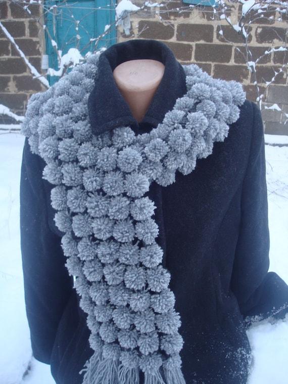 Pom Pom Wool Knitting Patterns : pom pom scarf gray scarf knit scarf winter accessories