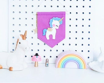 Unicorn Banner, Lilac and blue