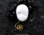 Animitta Brooch - Handmade Porcelain Jewelry, Doll Head Golden Face Geometry 24K Golden Ceramic Brooch - Limited Edition