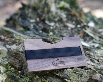 Wooden wallet, modern design, credit card wallet, money clip, minimalist, slim