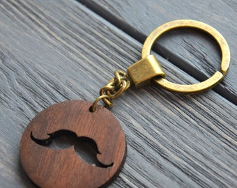 Mustache Men Key Chain Wooden Engraved Custom Keychain Gift for Him Dad Father Grandfather Birthday favor