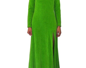 ALLEY CAT by Betsey Johnson Green Terry Cloth Dress SIZE 13/14 Long Slit 70s