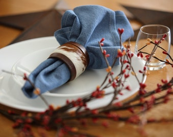 Cowhide and Leather Napkin Rings