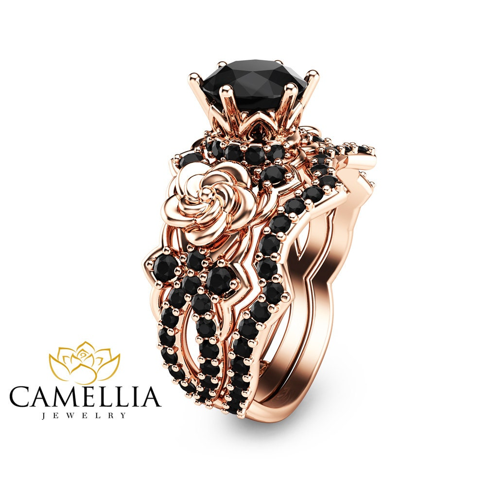 black diamond gold engagement ring set 14k rose gold flower. Black Bedroom Furniture Sets. Home Design Ideas